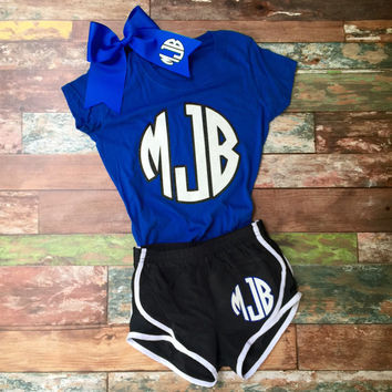 Cheer Camp Outfit, Monogrammed Cheer bow, Running Shorts, Tshirt, Squad Orders Welcome, Girl's and Women's sizes available