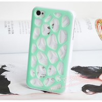 3D Mint Green Hollow Double-decked Silicone soft Cover Case for IPhone 4 4S