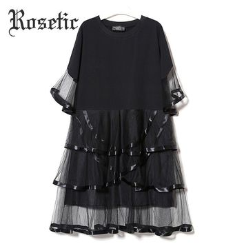 Gothic Casual Dress Black Loose Mesh Patchwork Women Summer Layered Dress Fashion Ruffles See-Through Goth Dress