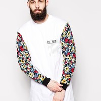 Reclaimed Vintage Longline Long Sleeve T-Shirt With Floral Sleeves