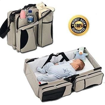 3 in 1 - Diaper Bag - Travel Bassinet - Change Station - (Cream) - Multi-purpose #1 Baby Diaper Tote Bag Bed Nappy Infant Carryc