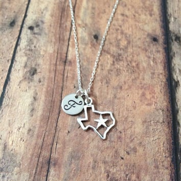 Texas initial necklace - Texas jewelry, state necklace, state of Texas necklace, state jewelry, US state necklace, silver Texas necklace