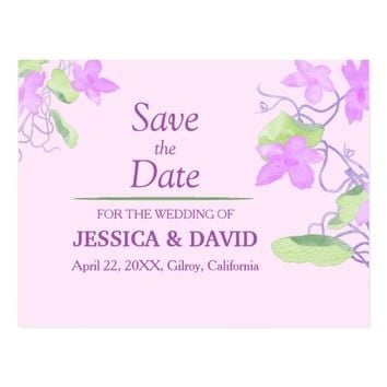 Lilac Lavender Flowers | Save the Date Postcard