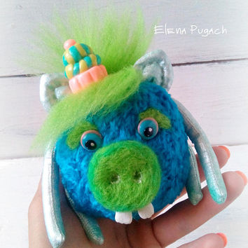 Artist teddy piggy alien 3.9 inches Teddy toy Collectible toy OOAK teddy toy Mini teddy Author teddy Pig Interior toy Blue teddy pig