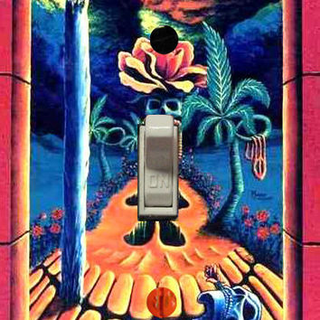 "Trippy blacklight light switch cover plate ""Skull Garden Illusions"" by Vincent Monaco"