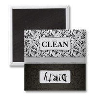 Black and White Damask Clean / Dirty Dishwasher Fridge Magnet from Zazzle.com