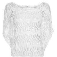 White Crochet Batwing Top