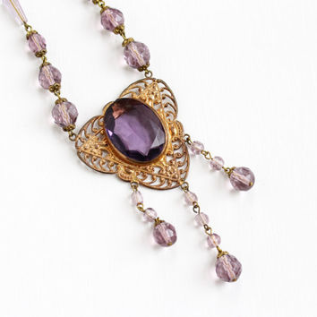Vintage Art Deco Czech Simulated Amethyst Pendant Necklace - 1920s Brass Purple Glass Lavalier Filigree Czechoslovakia Costume Jewelry