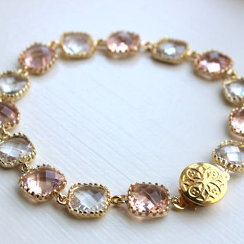 Blush Champagne Crystal Bracelet Gold Plated - Pink Clear Bridesmaid Bracelet - Peach Bridal Bracelet - Champagne Crystal Wedding Jewelry