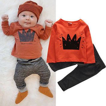 Kids Baby Boys Clothes Set  Long Sleeve Warm Clothing Set Crown Pattern T-shirt+Pants Leggings Outfits LIttle Girls Clothes
