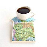 Thailand Map Coasters / Map of Thailand / Hostess Gifts under 25 / Gifts for the Home / Christmas Gifts for Parents / Ready to Ship Gifts