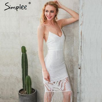 Simplee Backless V neck beach summer dress women Zipper white lace dress new year Hollow out sexy party dresses tassels vestidos