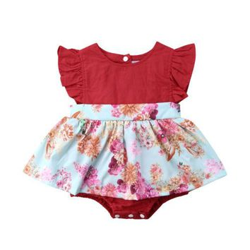 Toddler Newborn Baby Girl Ruffle Floral Blooming Flower Print Tutu Romper Dress Jumpsuit Outfits Clothes