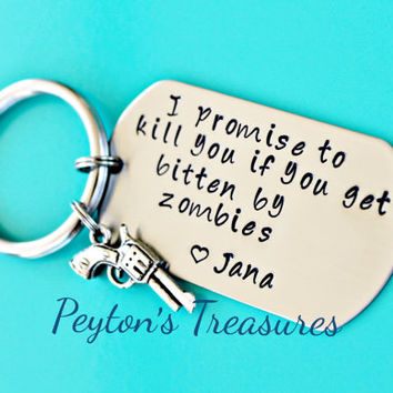 Halloween- Hand Stamped Keychain- Personalized Keychain- Zombie Keychain- Girlfriend Keychain- Boyfriend Keychain