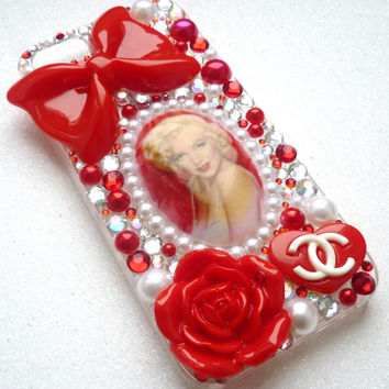 Marliyn Monroe red bow red pearls love crystals pearls i phone 4 4s 5 5C 5S case barbie crystals high heels lipstick  rose logo pearls