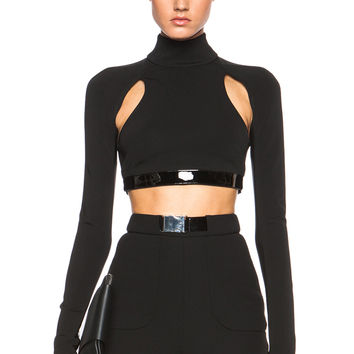 David Koma Long Sleeve Cut Out Leather Band Top in Black | FWRD