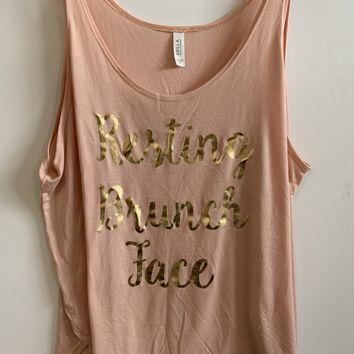 IG - FLASH SALE - Resting Brunch Face -  Ruffles with Love - Racerback Tank - Womens Fitness