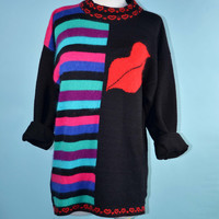 Vintage 80s Black Pullover Sweater, Red Lips + Hearts + Stripes/Slouchy Kawaii Wool Sweater Tunic Jumper, Avant Garde Novelty  M