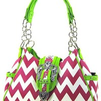 Chevron Print Rhinestone Buckle Hobo Satchel Purse Zig Zag (Hot Pink / Lime)