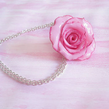 Valentine's day pink rose necklace handmade in cold porcelain and hand painted