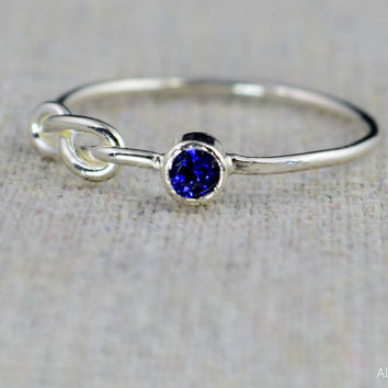 Sterling Silver Sapphire Infinity Ring