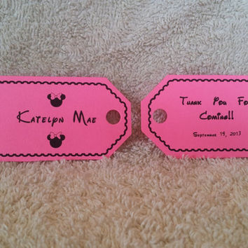 Personalized Minnie Mouse Inspired Party Favor Tags (Baby Shower, Birthday)