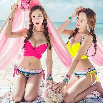 Sexy Women&acutes Bikini SET Push-up Padded Bra Swimsuit Bathing Suit Swimwear PINK = 1946181188