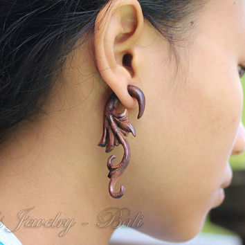 Fake Gauge Wooden Earrings Long tail Tribal Wings Earring Design