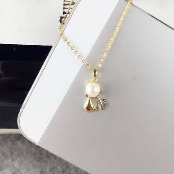 AINUOSHI 18K Yellow Gold Natural Cultured Freshwater Pearl Pendant Necklace Mouse Pendant Pearls 4.5-5mm