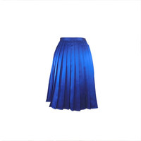 Blue satin skirt knife pleated knee length aline, Italian tailoring skirt