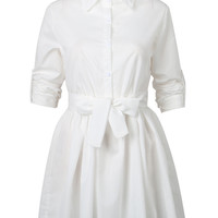 White Tied Waist Long Sleeve Plain Shirt Dress