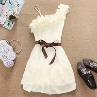 White One Shoulder Ruffle Chiffon Dress