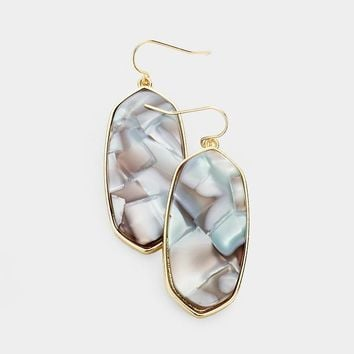 Framed Gold Drop Earrings in Stone - Click for Colors