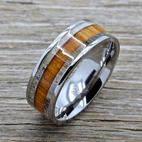 Deer Antler Titanium Ring With Koa Wood Inlay 8mm Comfort Fit Wedding Band
