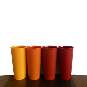 Vintage Tupperware Tumblers Four Tall Plastic Cups - Yellow Orange Red and Maroon