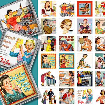 Retro 1950s ads Women in the Kitchen 1x1 inch square images. Digital Collage Sheet Pendants