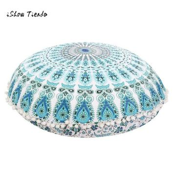 ISHOWTIENDA  New 1pc 80*80cm Round Large Mandala Floor Pillows Round Bohemian Meditation pillow cover Ottoman Pouf