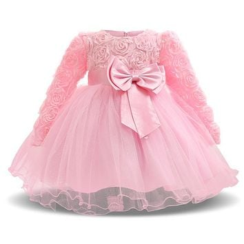 Winter Baby Girl Dress Girls First Christmas Family Party Clothes Toddler 1 Year Birthday Dress Vestidos Infant Christening Gown