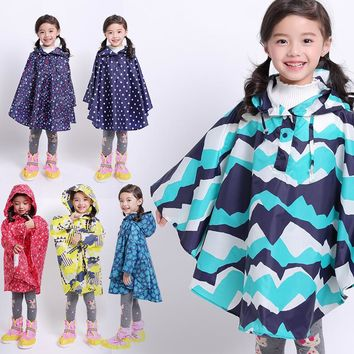 FreeSmily Raincoat for Children Rain Coat Kids Cloak Type Rainwear Rain Coat Printed Poncho Kids Rainproof Student Rainsuit