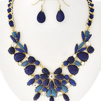 Navy Floral Multi Gem Necklace and Earrings