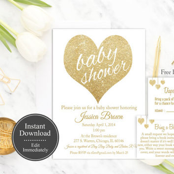 White Baby Shower Invitation Printable, Instant Download, Gender Neutral Invitation, Gold Glitter, Baby Shower Invite Template, DIY, Digital