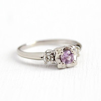 Violet Sapphire Ring - Vintage 14k White Gold .34 CT Genuine Pink Gemstone - Size 8 Engagement Fine 1940s Illusion Diamond Accent Jewelry