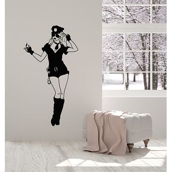 Vinyl Wall Decal Police Sexy Girl Uniform Law Cop Handcuffs Stickers Mural (g691)