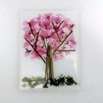 Cherry Blossom Tree Fused Glass Panel - Spoon Rest - Serving Board - Glass Art - Decorative Plate - Pink Decor