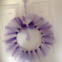 "Purple/Lavender Awareness Wreath Tulle 12"" -Epilepsy-Alzheimers-Cancer-Rett Syndrome-Cystic Fibrosis-Infinitile Spasm"