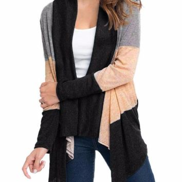 Women's Gray Taupe Black Colorblocked Striped Long Sleeve Cardigan Jacket