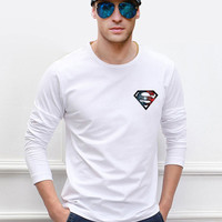 Superman Mens Long Sleeve T-shirt 100% Cotton