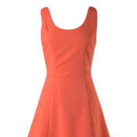 Orange Cutout Back Cocktail Summer Skater Dress