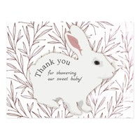 Botanical Leaves Bunny Baby Shower Thank You Postcard