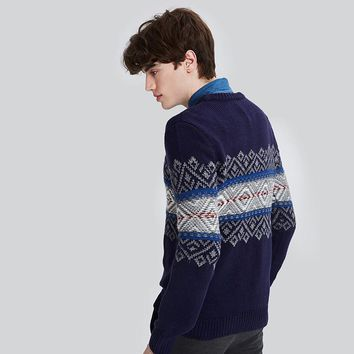 Autumn Winter Warm Men Sweater Casual O Neck Wool Pullover Snow Warm Print Christmas Sweater